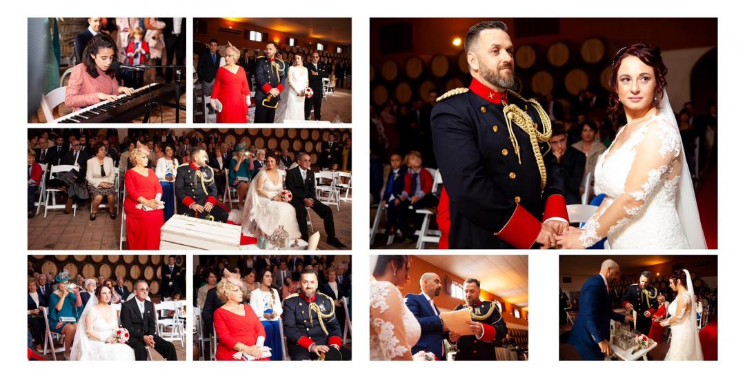 boda civil en una bodega